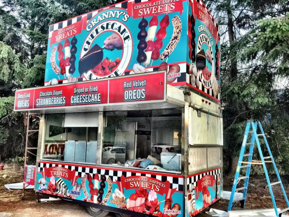 Granny's Cheesecake and More food truck stand wrap