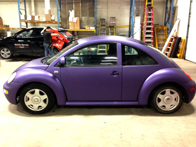 Purple VW Beetle full vinyl vehicle wrap