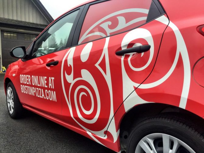 Boston Pizza custom full vehicle wrap